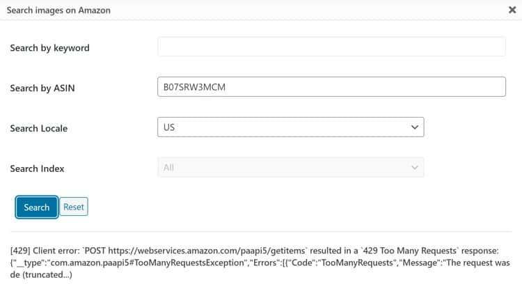 Fix the Amazon API 429 Client Error Too Many Requests