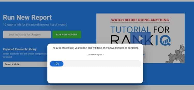 RankIQ running a report